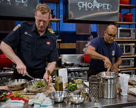 Brampton firefighter Ryan Brown, left, with firefighter Henri Persaud on the set of Chopping Canada. The Fired Up episode airs Saturday, Dec. 10 at 9 p.m. on The Food Network.
